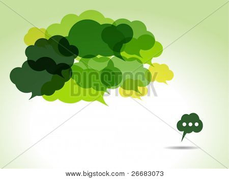 green cloud speech bubbles