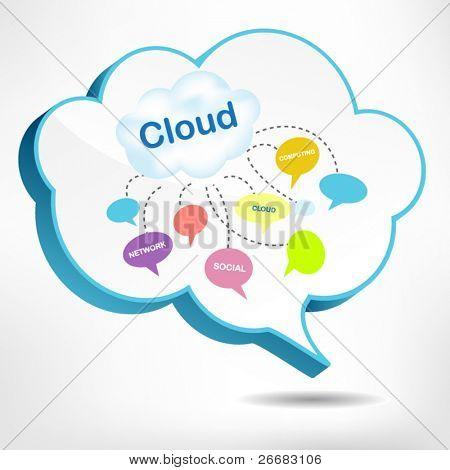 3D cloud bubble design for cloud computing concept