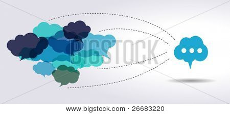 connected blue cloud speech bubbles