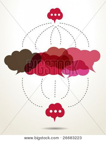 connected red cloud speech bubbles