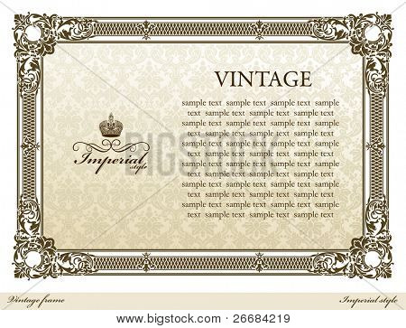 Medieval vintage decorative ornament frame brown. Vector illustration