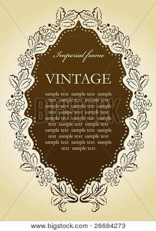 Floral vintage Vignette frame. Vector illustration