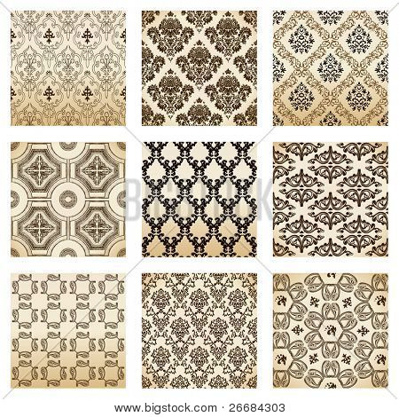set seamless wallpaper old flower decorative vintage. Vector illustration