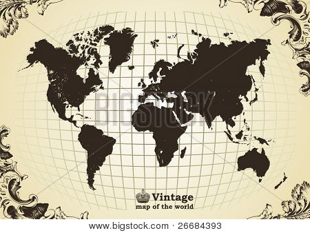 Vintage old map of the world frame. Vector illustration