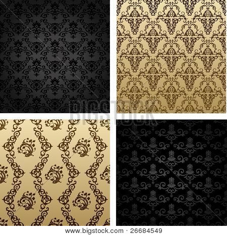 vintage vector seamless background brown black baroque Pattern