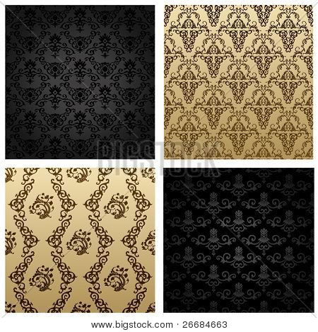 Raster vintage seamless background brown black baroque Pattern. Vector copy search in my portfolio