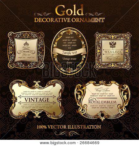 Vektor Jahrgang Bilder. Gold Ornament Bezeichnung. Legen Sie fünf Abbildungen