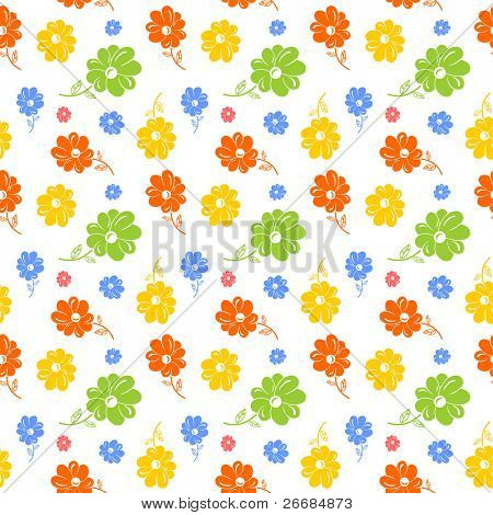 Colorful flowers seamless background. vector copy search in my portfolio