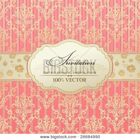 invitation vintage label vector frame pink pastel