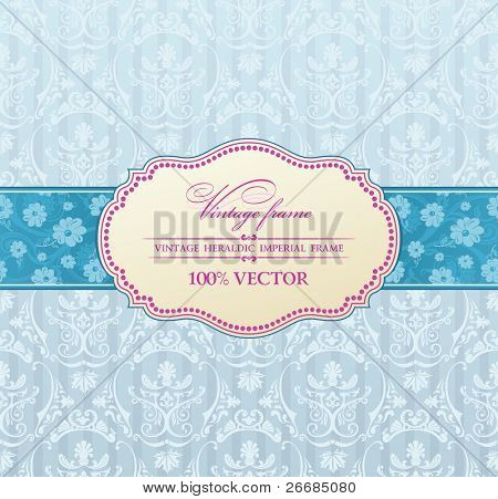 Background vector invitation vintage label. flower frame blue