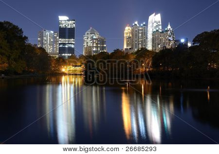 skyline of atlanta, georgia from piedmont park