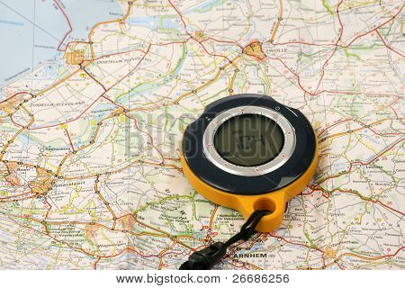 GPS Backtracker on a road map