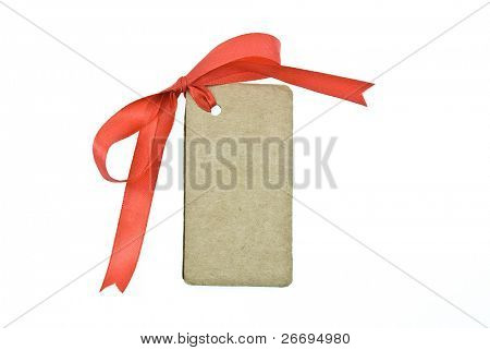 Blank cardboard gift tag tied with a bow of red satin ribbon