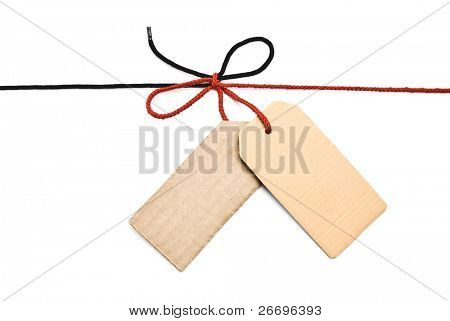 Red and black shoelace,bow with cardboard tags