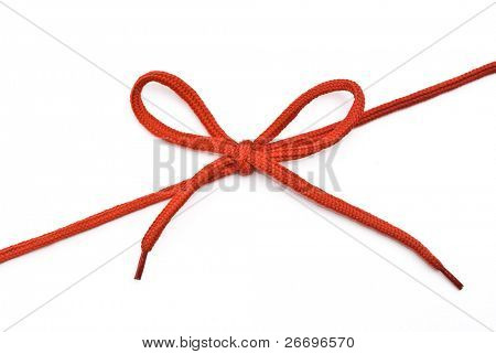 Red shoelace with bow