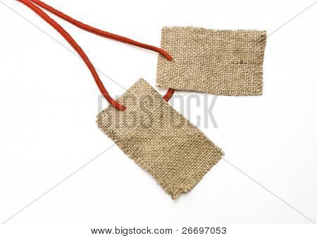 Red shoelace with sackcloth tags