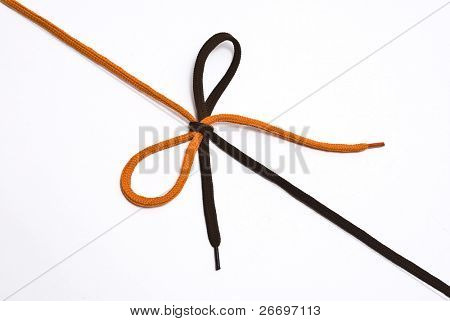 Orange and  brown shoelace with bow