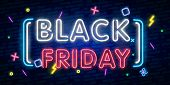 Black Friday Sale Neon Sign Vector. Black Friday Sale Design Template Neon Sign, Light Banner, Neon  poster