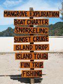stock photo of langkawi  - Signpost on the famous Tanjung Rhu beach of Langkawi - JPG