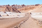 Chilean Landscape, Dirt Road On Valley Of The Moon. Chile Panorama poster