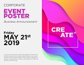 Business Announcement Vector Card. Event Poster Template With Fluid Gradient Shapes. Commercial Adve poster