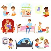 Children Reading Books And Dreaming, Parents Reading Bedtime Stories For Their Kids, Imagination And poster