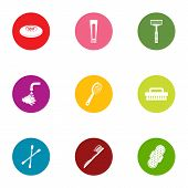 Personal Hygiene Icons Set. Flat Set Of 9 Personal Hygiene Icons For Web Isolated On White Backgroun poster