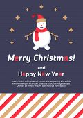 Christmas Card With Snowman. Fancy Seasonal Poster. Template For Merry Christmas Winter Season Greet poster
