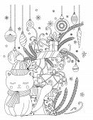 Christmas Coloring Page For Kids And Adults. Cute Cat With Scarf And Knitted Cap. Pile Of Holiday Pr poster