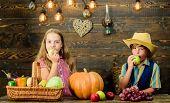 Celebrate Harvest Festival. Kids Girl Boy Fresh Vegetables Harvest Rustic Style. Children Presenting poster