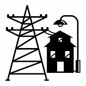 Electric Tower Near House Icon. Simple Illustration Of Electric Tower Near House Vector Icon For Web poster