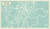 Постер, плакат: Yaounde Cameroon City Map in Retro Style Outline Map