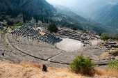 The theater at Delphi is build further up the hill from the Temple of Apollo and it presented the se