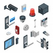 Home Security Systems Vector 3d Isometric Icons And Design Elements. Smart Technologies, Safety Hous poster
