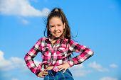 Child Cute Girl Long Hair Ponytail Hair. Fashion Model Girl. Stylish Fashionable Kid. Kids Fashion C poster