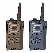 Radio Walkie Talkie. Vector Illustration Of A Radio Transmitter, Walkie Talkie. Hand Drawn Walkie Ta poster
