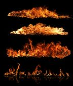 stock photo of bonfire  - High resolution fire collection of isolated flames on black background - JPG