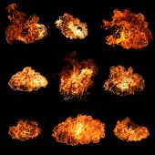 stock photo of ember  - High resolution fire collection isolated on black background - JPG