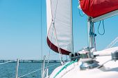 White Sail Of A Sailing Boat Against Blue Sky poster