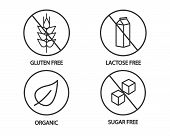 Food Icon - Gluten Free, Lactose Free, Organic And Sugar Free Icons. Black And White Illustration poster