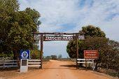 Pantanal Entrance Gate Along Transpantaneira Dirt Road. Brazilian Landmark. Road In Perpective poster