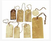 Set of stained tags with strings