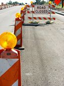 stock photo of road construction  - Road block - JPG