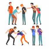Conflict Between Teenagers, Boys Mocking His Classmate, Mockery And Bullying At School Vector Illust poster