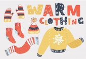 Set Of Winter Warm Clothing Consisting Of Sweater, Gloves, Hat Or Cap, Scarves, Scarf. Collection Of poster