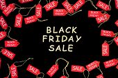 Red Shopping Sale Discount Labels On Black Isolated Background With Wooden Text black Friday Sale. poster