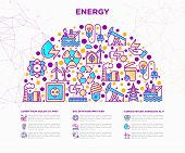 Energy Concept In Half Circle With Thin Line Icons: Factory, Oil Platform, Hydropower, Wind Energy,  poster
