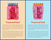 Preserved Fruit In Glass Jars Set Vector Illustration. Sweet Raspberry Jam And Cherry Marmalade, Who poster