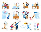 Deadline At Work Icons Set. Boss Shouting On Employee To Work Faster.tired And Stressed Workers In O poster