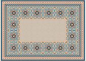 The Pattern Of A Luxury Old Oriental Carpet With Gently Orange And Blue Tones On White Background poster